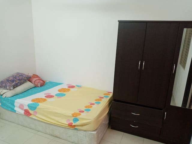 Single room with attached bath and ac