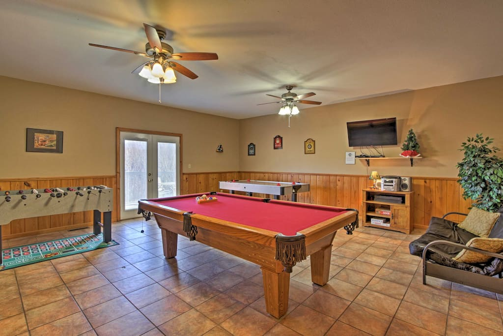 Unwind in the game room that features billiards, foosball, and air hockey!