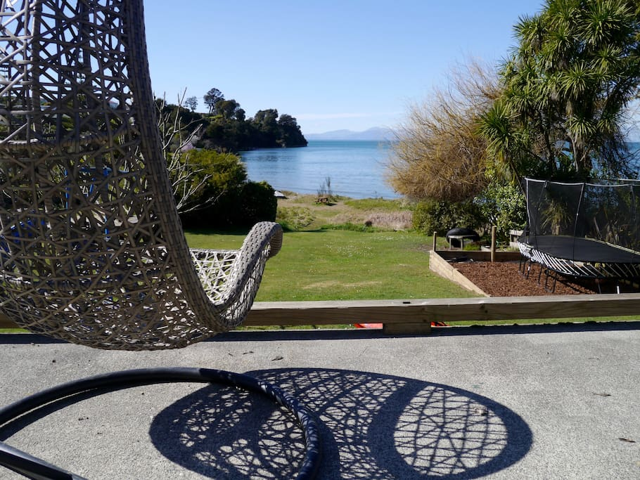 Swing chair easily moves to the best spots