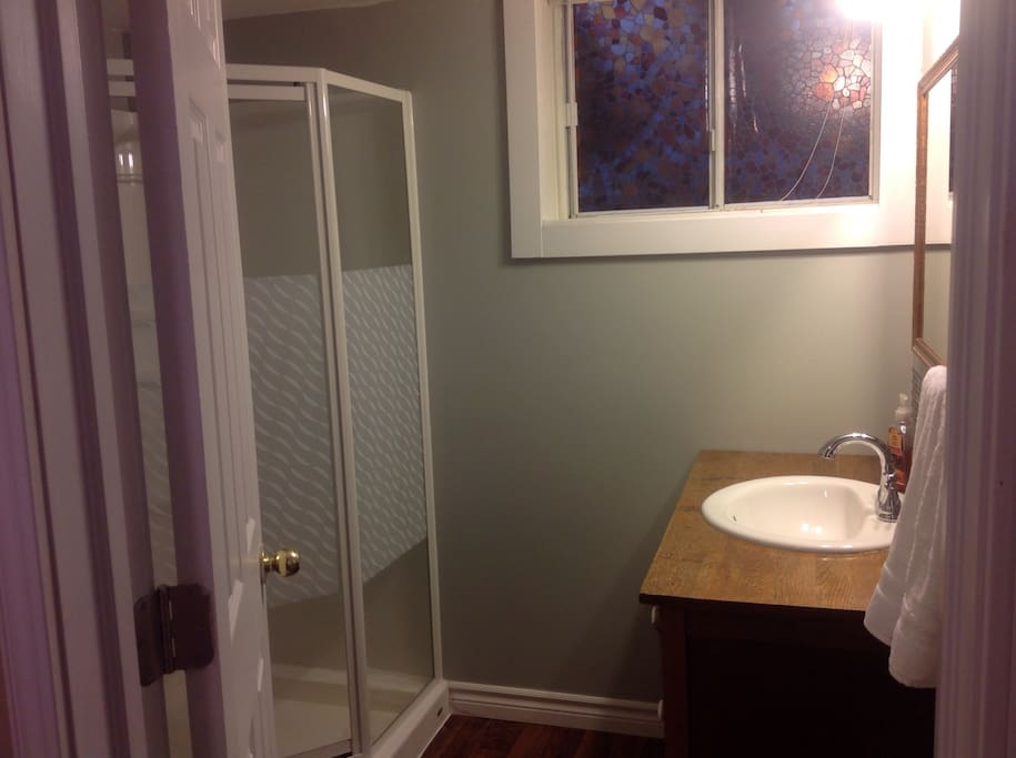 Brand new washroom with walk in shower.