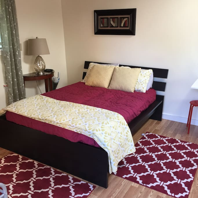 Full size bed with quality linens