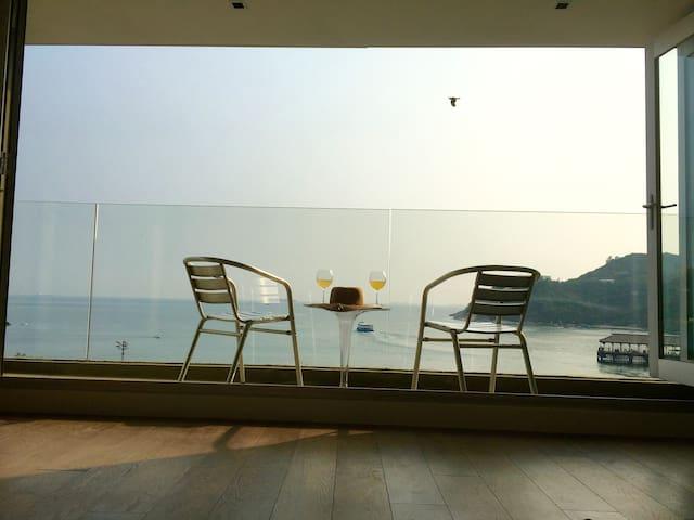 Balcony view of sea.