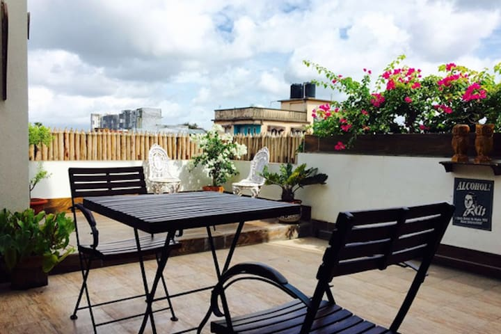 The seating area on the terrace- you can have your breakfast here.