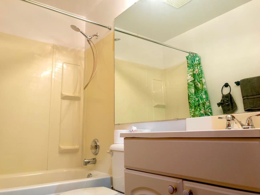 Extra large mirror in our spotless full bathroom.