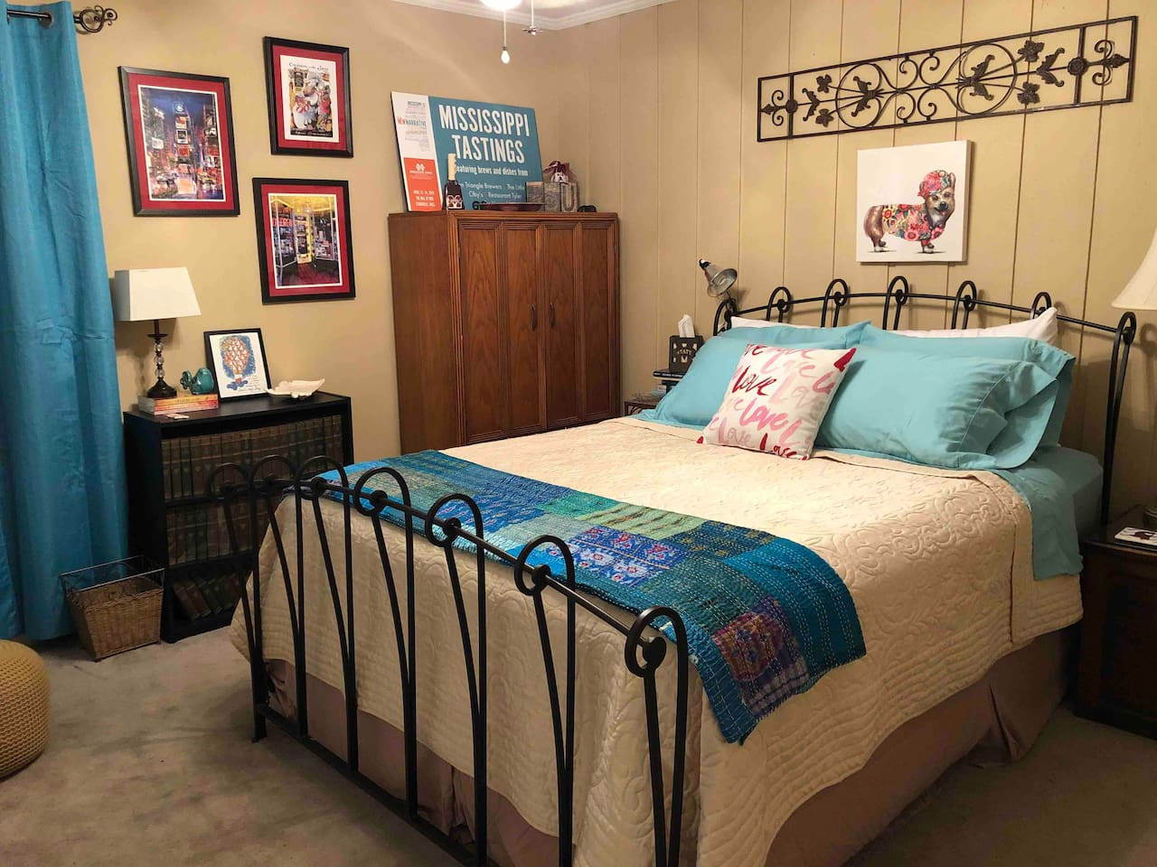 cushy queen bed with soft sheets and layered bedding