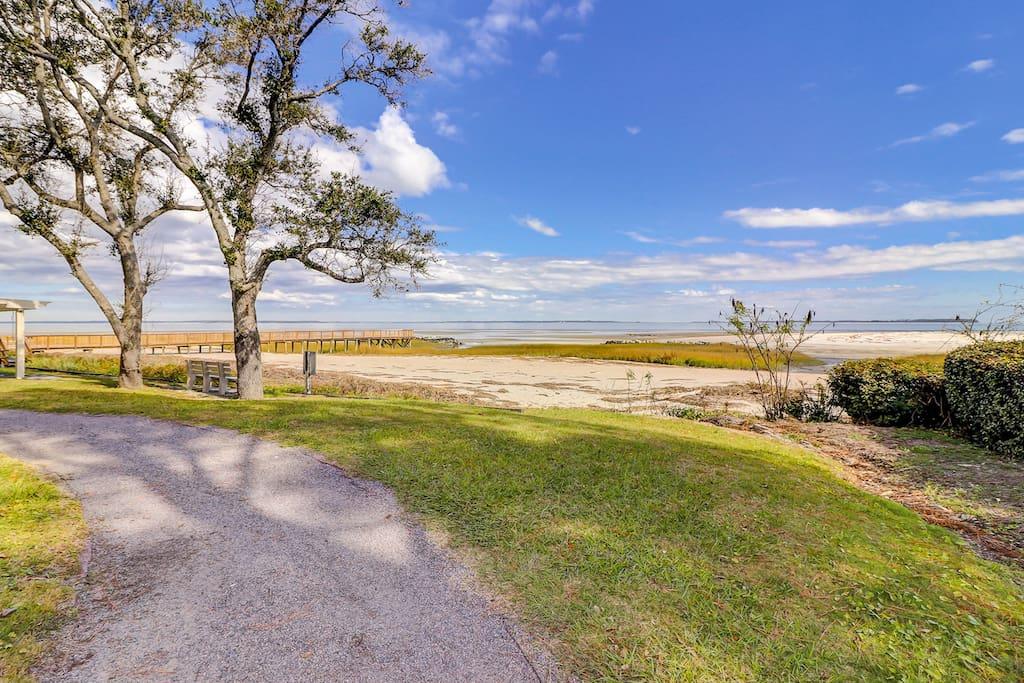 Follow the community boardwalk leading to one of Hilton Head Island's quietest beaches.