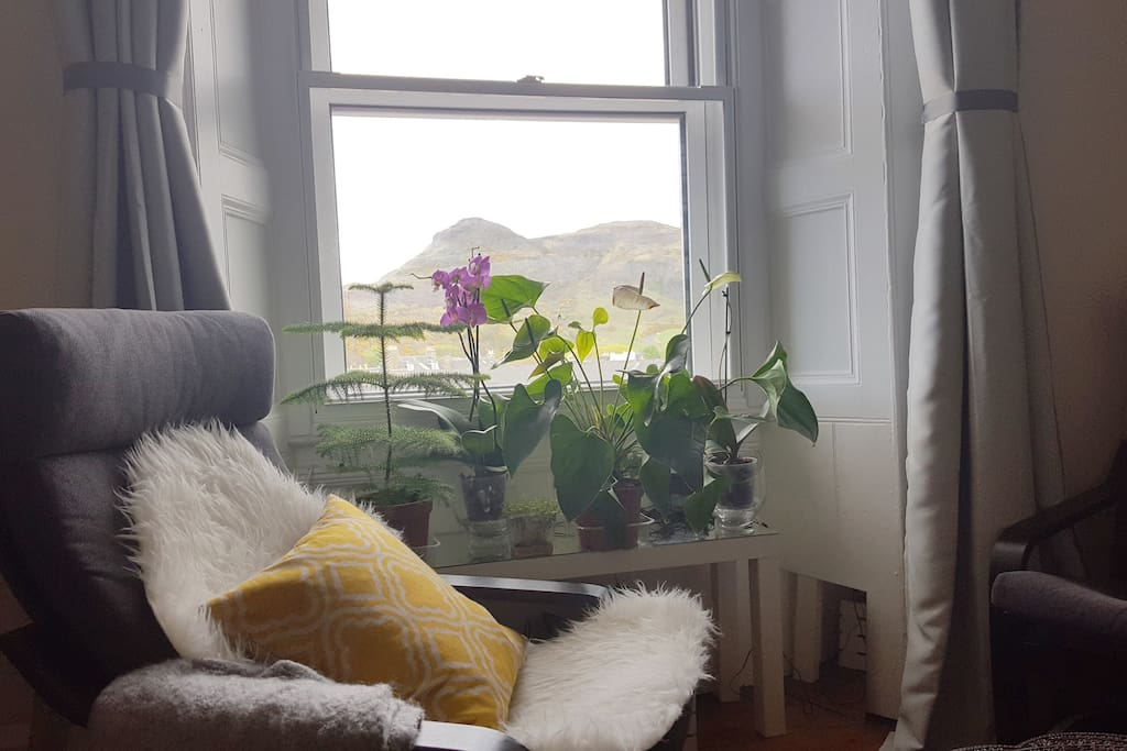 Large cozy living room with views of Arthur's Seat
