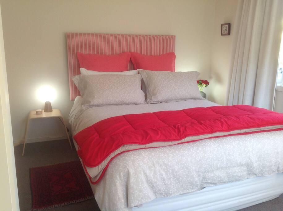 Queen bedroom, TV in room, quiet and private.