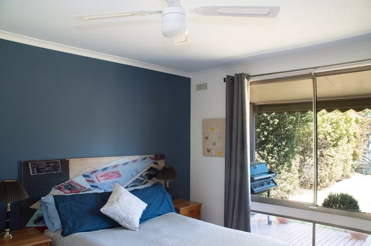2nd bedroom with double and single beds. BBQ on the verandah
