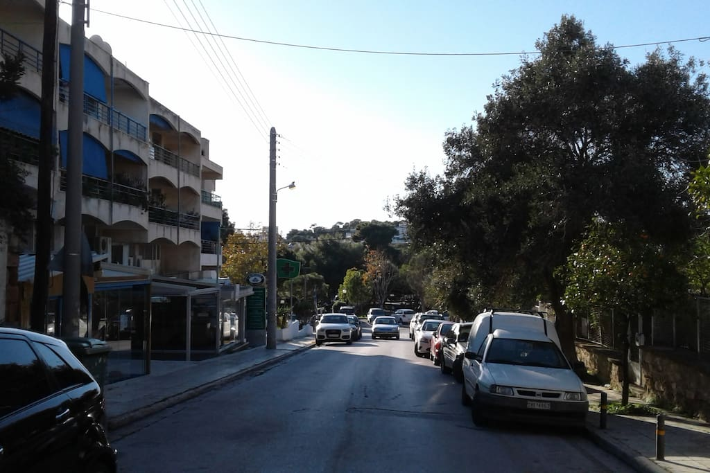 Apartment building entrance, looking right, towards the park located just before Vouliagmeni beach.