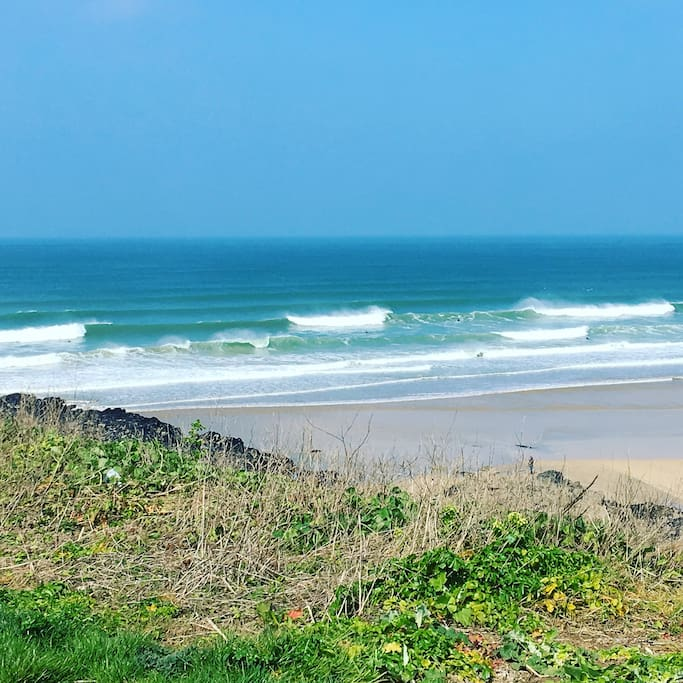 Fistral Beach is a 5 minute walk from the apartment.