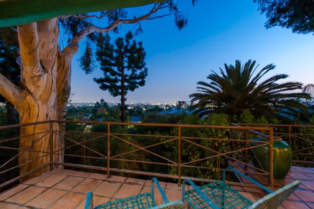 Expansive deck with views of LA