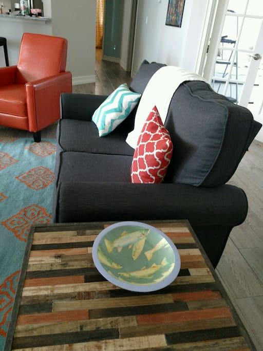 Custom Repurposed Wood Tables in Great Room