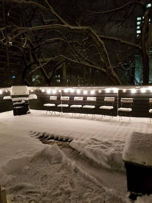 Our big private deck at night in the snow