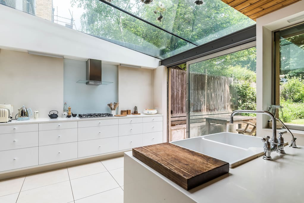 Huge, sunny, modern, well equipped kitchen