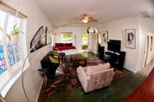 Cool fish eye shot of the living room from the kitchen.
