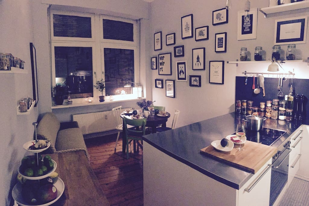 Our beautiful kitchen where you can cook, eat, chill or have a relaxed glas of wine ;-)