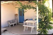 the patio of the cottage