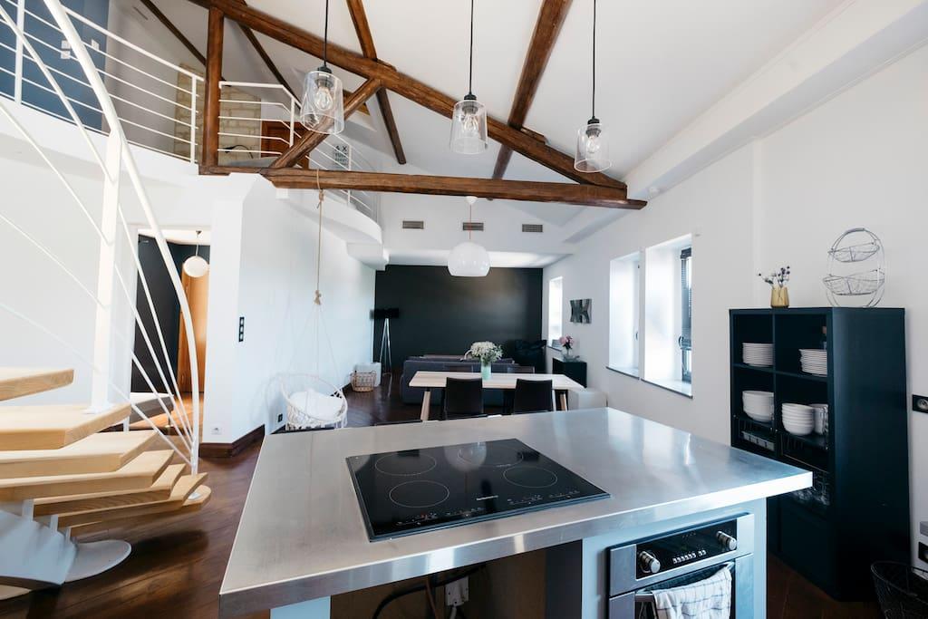 Cuisine et salon séjour