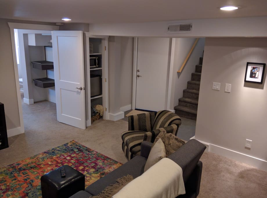 Enter into the apartment via a private entrance (just up the stairs).