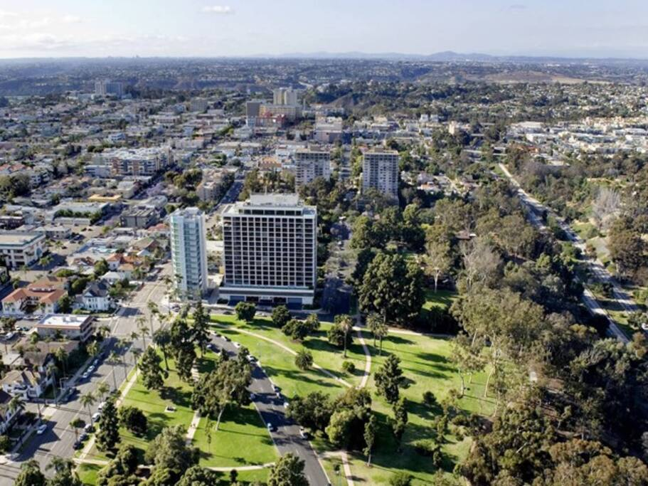 Our unit is on the 15th floor facing south with unobstructed views of Balboa Park, Downtown, Coronado Island, north to Point Loma and south to Tijuana