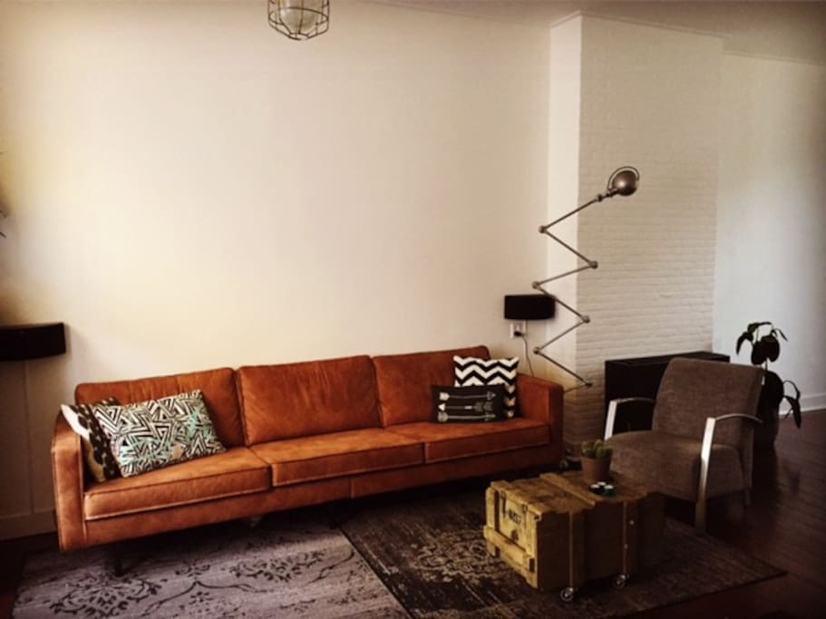 comfortable couch & spacious living room