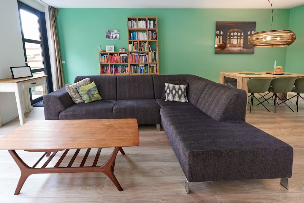 The living room, with a big couch