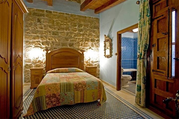 The Baron's room, wood and old stones ! - Sangarrén - Bed & Breakfast