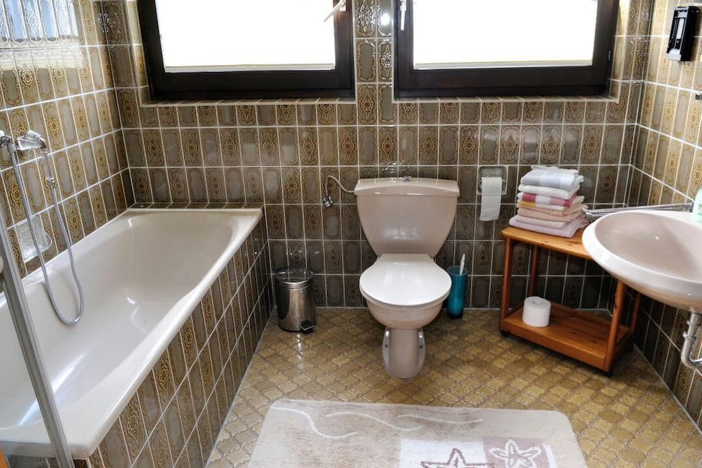 Badezimmer mit Dusche,Badewanne,Waschbecken und Toilette