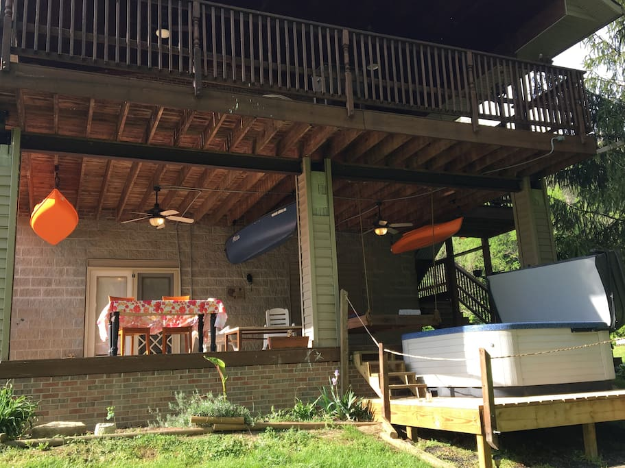 Lower back deck and Hot tub are part of the rental
