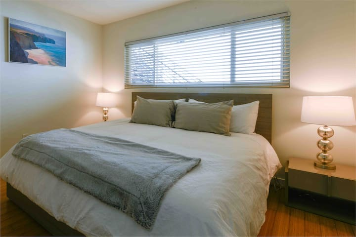 Bedroom with king size bed, and large closet