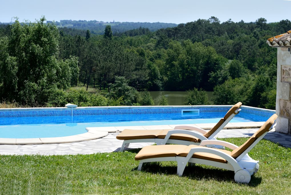Private pool overlooking our 3 fishing lakes, woods and hidden valley.