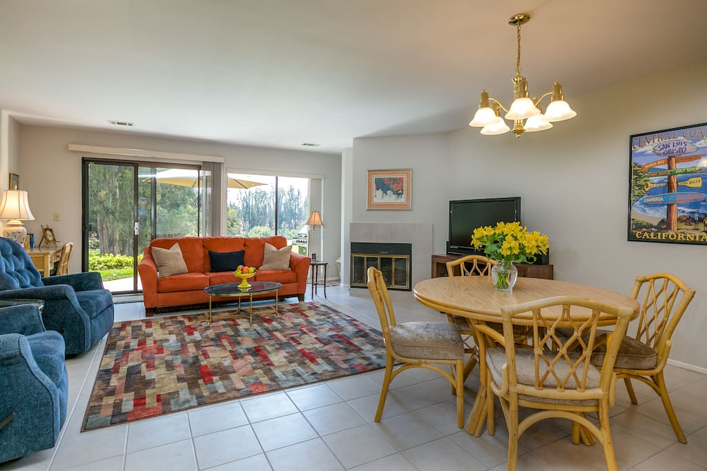 Enjoy panoramic views of the fairways from large windows in the living area