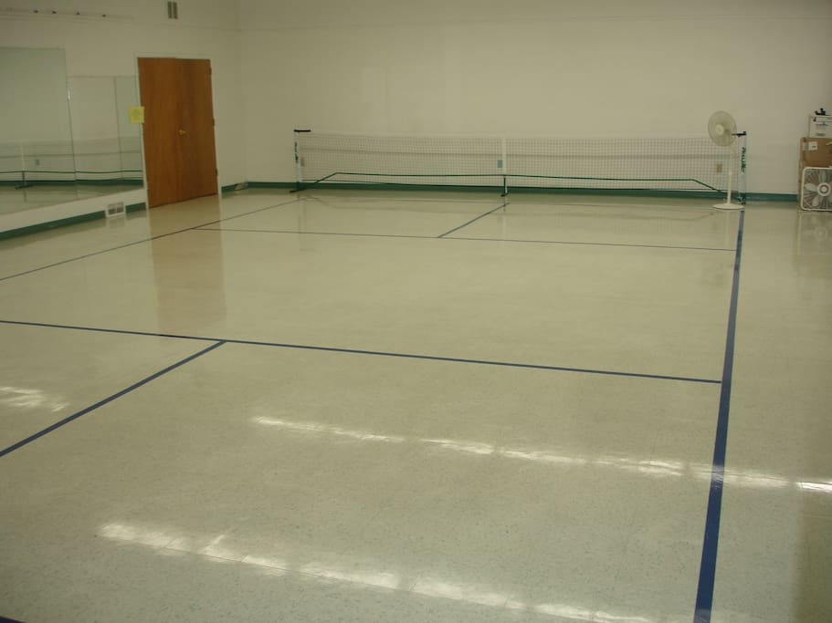 Dance Studio - could sleep 40 people - they'd bring their own air mattresses and sleeping bags.  (The blue lines are for pickleball which is available)