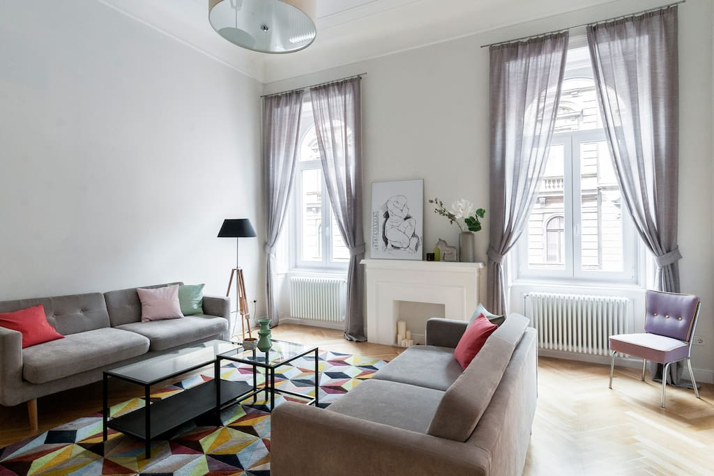 Living Room. Sophisticated design. Triple glazed windows for quiet.