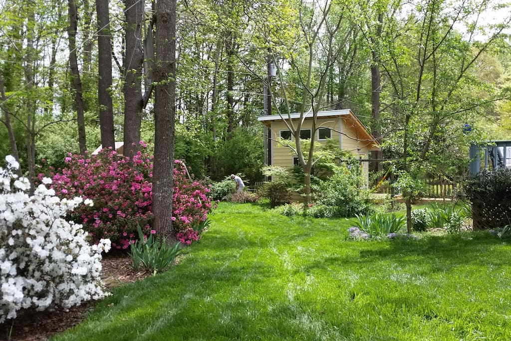 The serene private backyard is fenced, adjoining a church property owned woods.