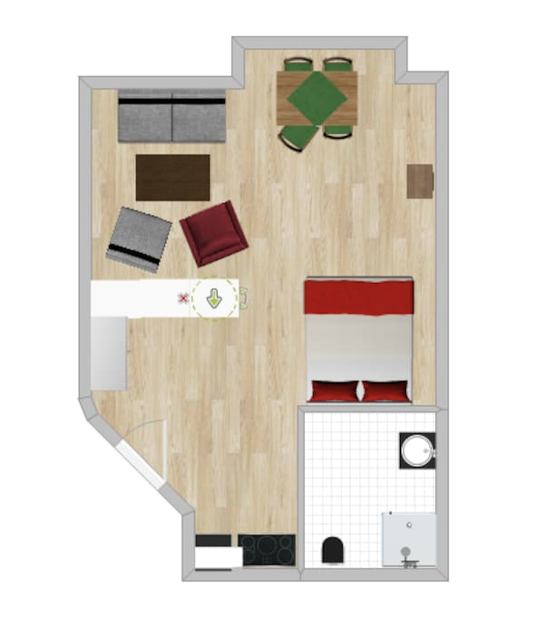 The layout of the studio, the big grey sofa is a sofabed, so 4 people can sleep in total in the studio.