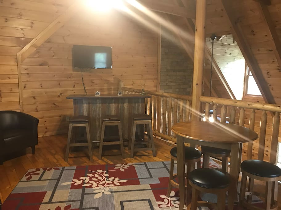 Loft area is a great place to relax after hiking in the smokies.