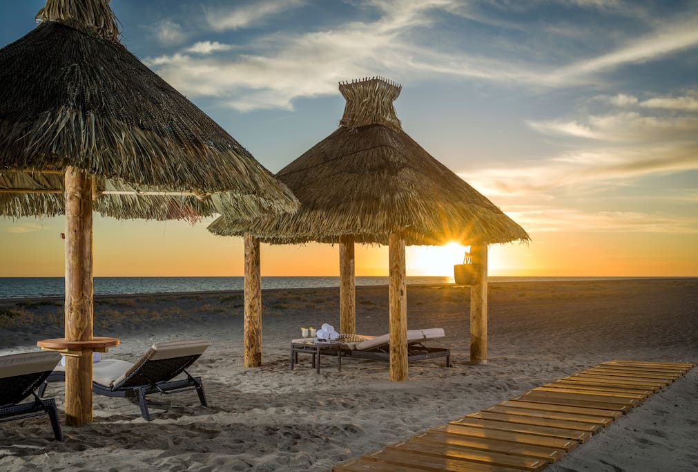 Claim a cabana on the breathtaking beach.