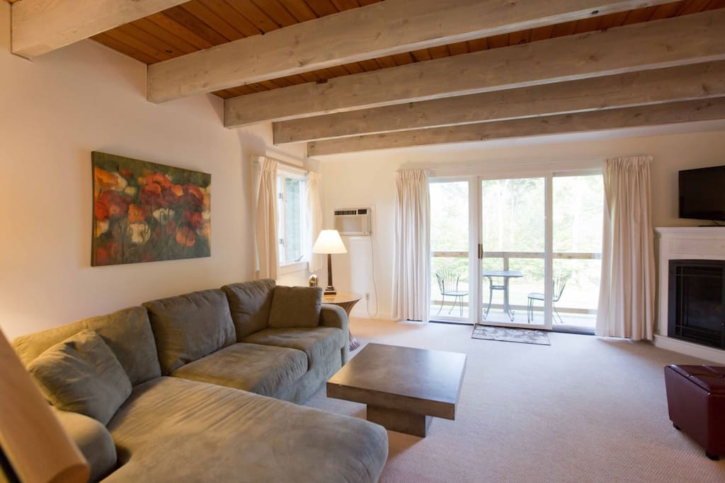 Exposed beams in the living room