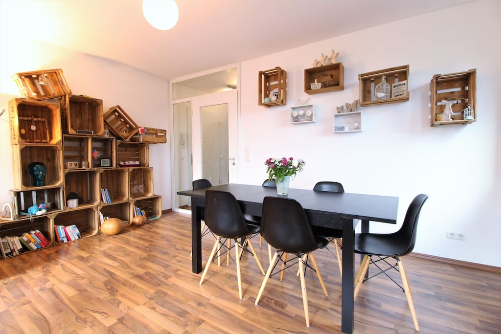 The living room offers a big dining table at which you can enjoy all your meals