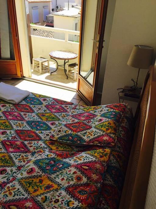 chambre double sur patio