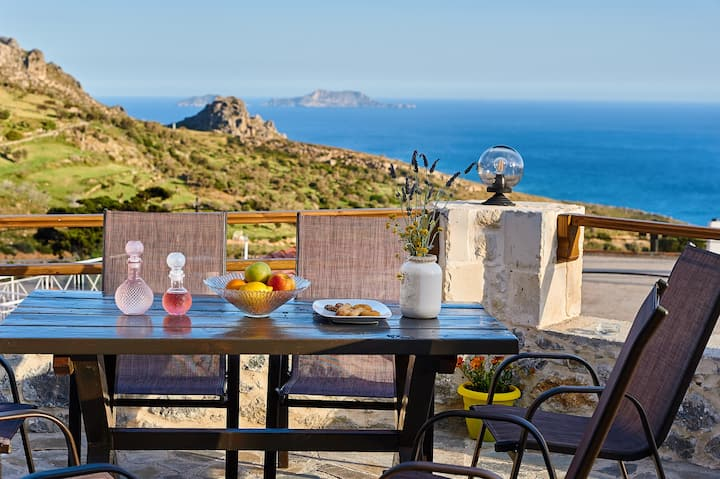 Traditional stonehouse,Lybian sea view,South Crete