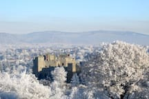 Ludlow Castle in Winter from Whitecliffe