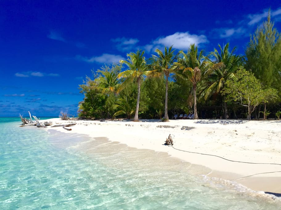 Pristine beaches fringed by tropical palms