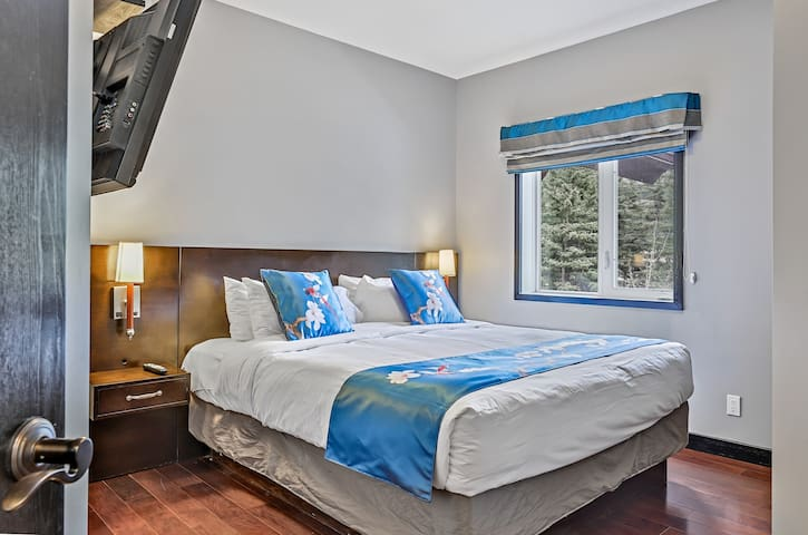 Master bedroom with king bed with mountain view