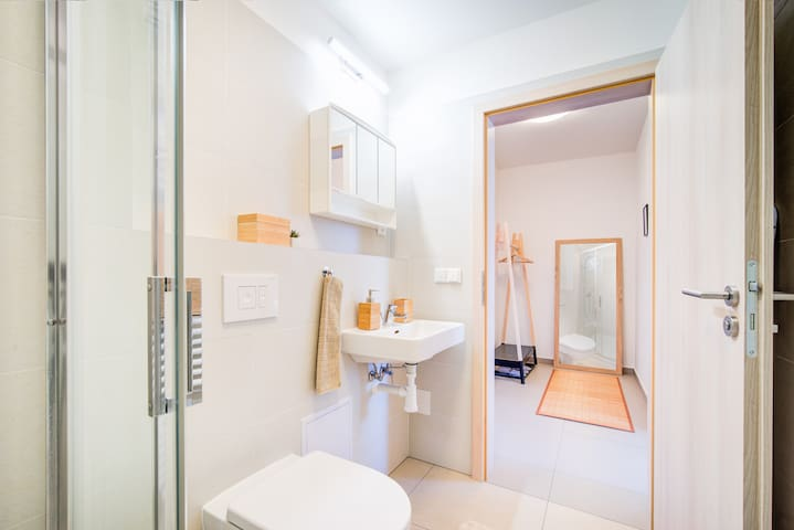 The large mirror and the hanger for your comfort.