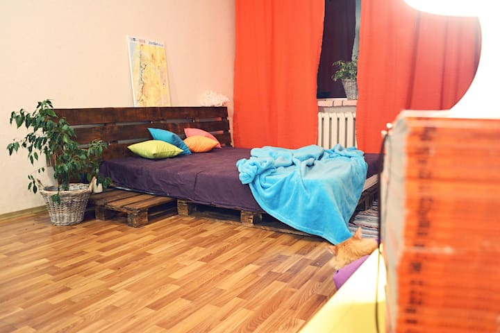 spacious room in Kiev for travelers - Kiova - Huoneisto