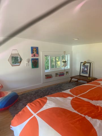 Loft with queen bed (note loft area is under 5 feet)