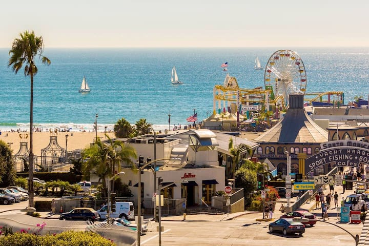 Location is amazing. We're in Venice +  Santa Monica is just 2 blocks away. This picture is of the Santa Monica pier just a bit down the boardwalk.